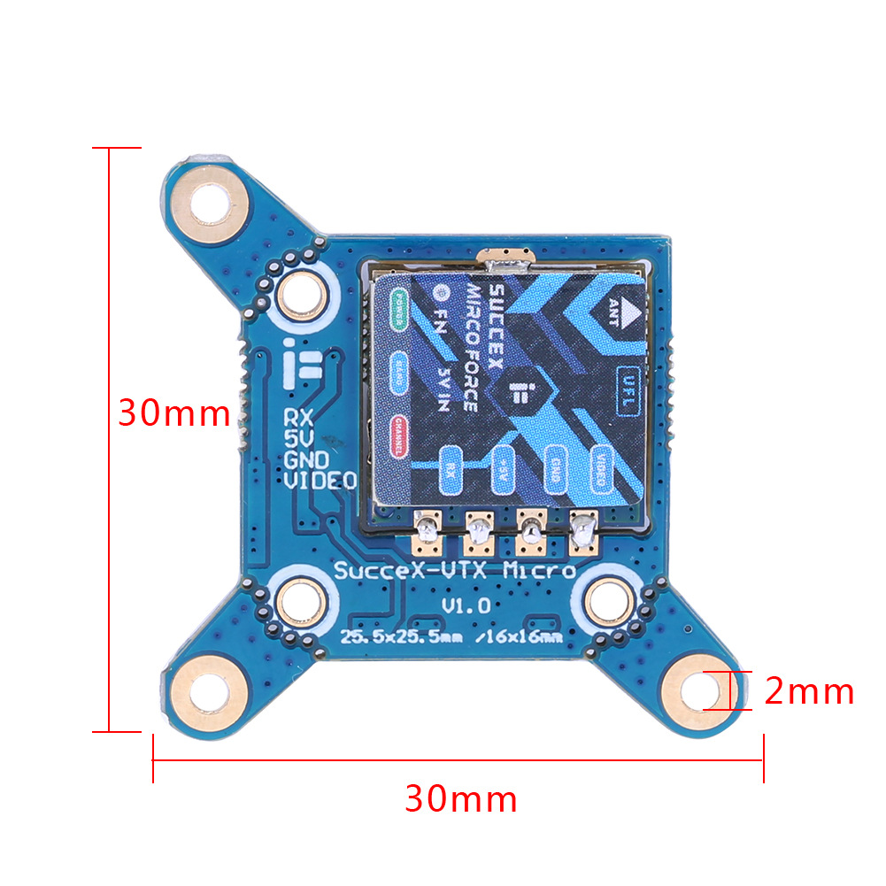 iFlight SucceX Micro Force 5.8G 300mW VTX Adjustable FPV Video Transmitter 25/100/200mW/300mW Switchable for RC Drone FPV 25 * 25