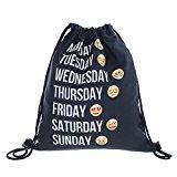 [EU Direct] Unisex Emoji Print Sackpack Gym Shoulder Drawstring Backpack String Bag