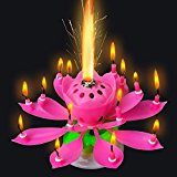 [EU Direct] 5SGIFT® 3x Musical Lotus Flower Candles Romantic Party Surprised Gift Light for Birthday (3PCS (Blue+Yellow+Pink))