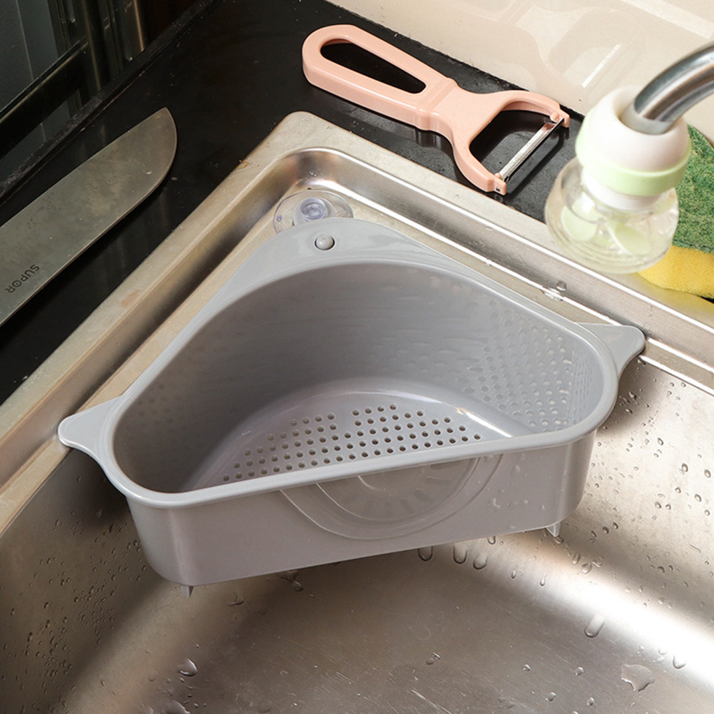 Kitchen Storage Rack Drain Basket with Suction Cup for Sink Gray with suction cup