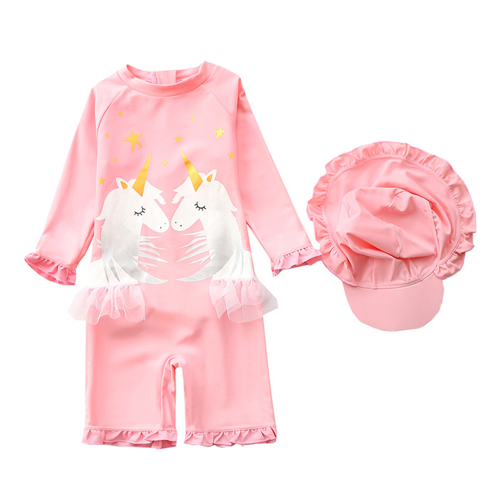 Kids Swimsuit Baby Girl One-piece Swimming Suit Sweet Swimsuit + Swimming Cap Set Pink_M