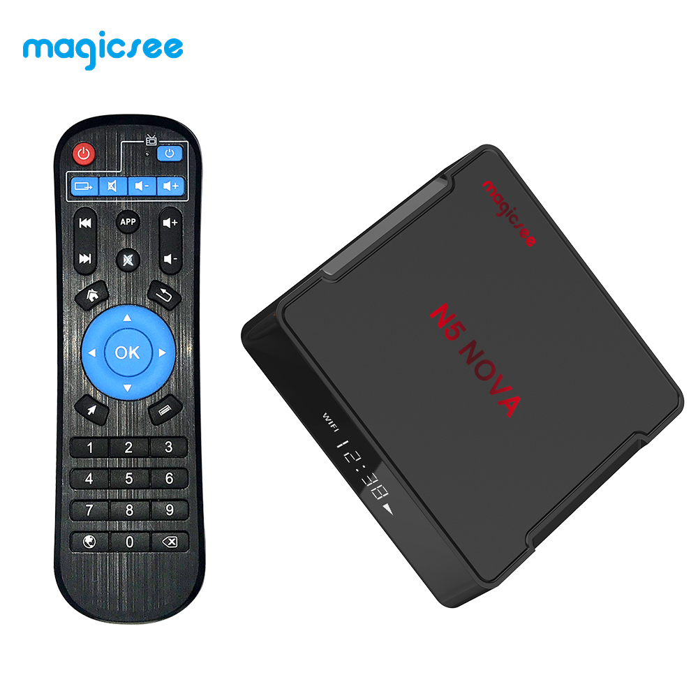 TV BOX N5 NOVA Android 9.0 TV BOX RK3318 4G 32G/64G Rom 2.4+5G Dual WiFi Bluetooth4.0 Smart Box 4K Set Top Box with Air Mouse black_4 + 64GB British regulations