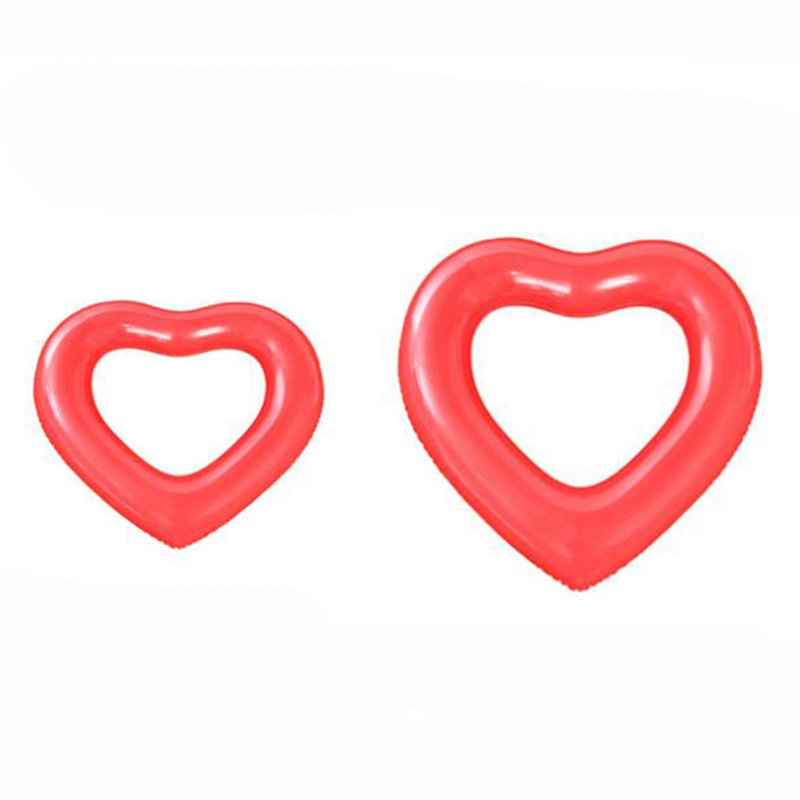 Solid Color Loving Heart Shape Thicken Inflatable Swimming Ring for Outdoor red_Small (90)