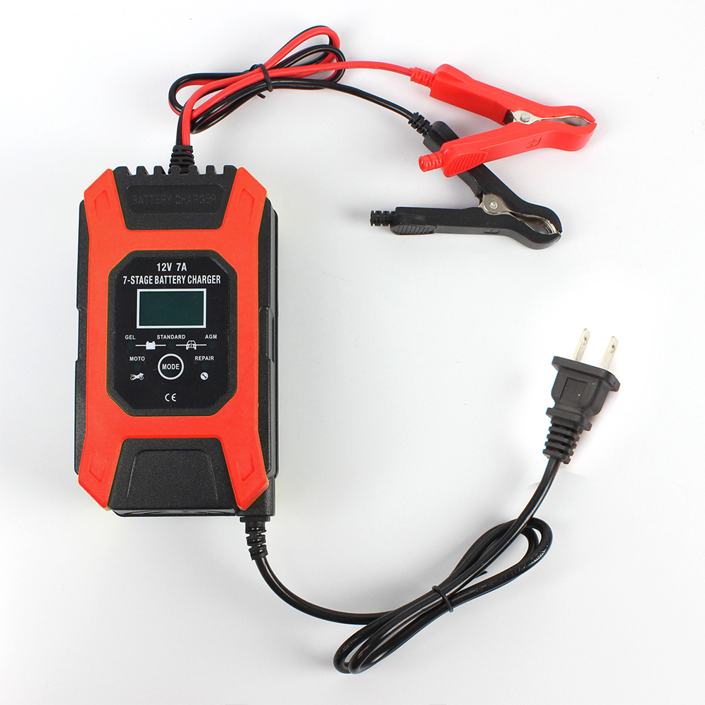 12v 7a 7-stage Battery Charger Wet Gel Std Agm Car Motorcycle Battery Charger Pulse Charge Maintainer Desulfator Red_U.S. Plug