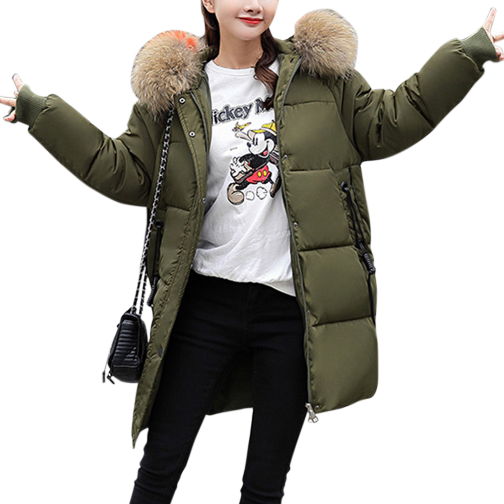 Women Warm Cotton Padded Jacket Fashionable Hooded Winter Coat Army Green_XXXL