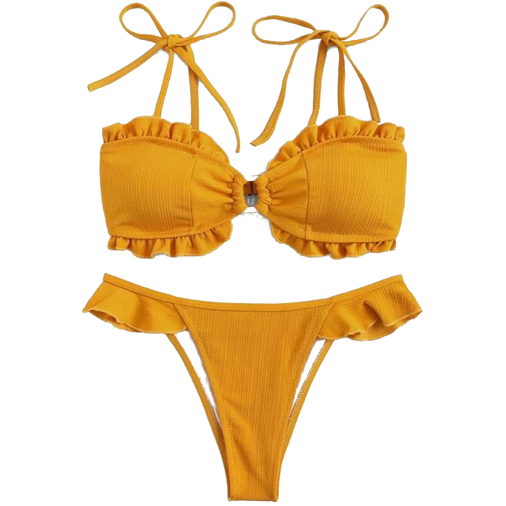 Women  Sexy  Bikini Tethered Shoulder Strap Lace Ruffle Swimwear Square Button Bathing Suit As shown_L
