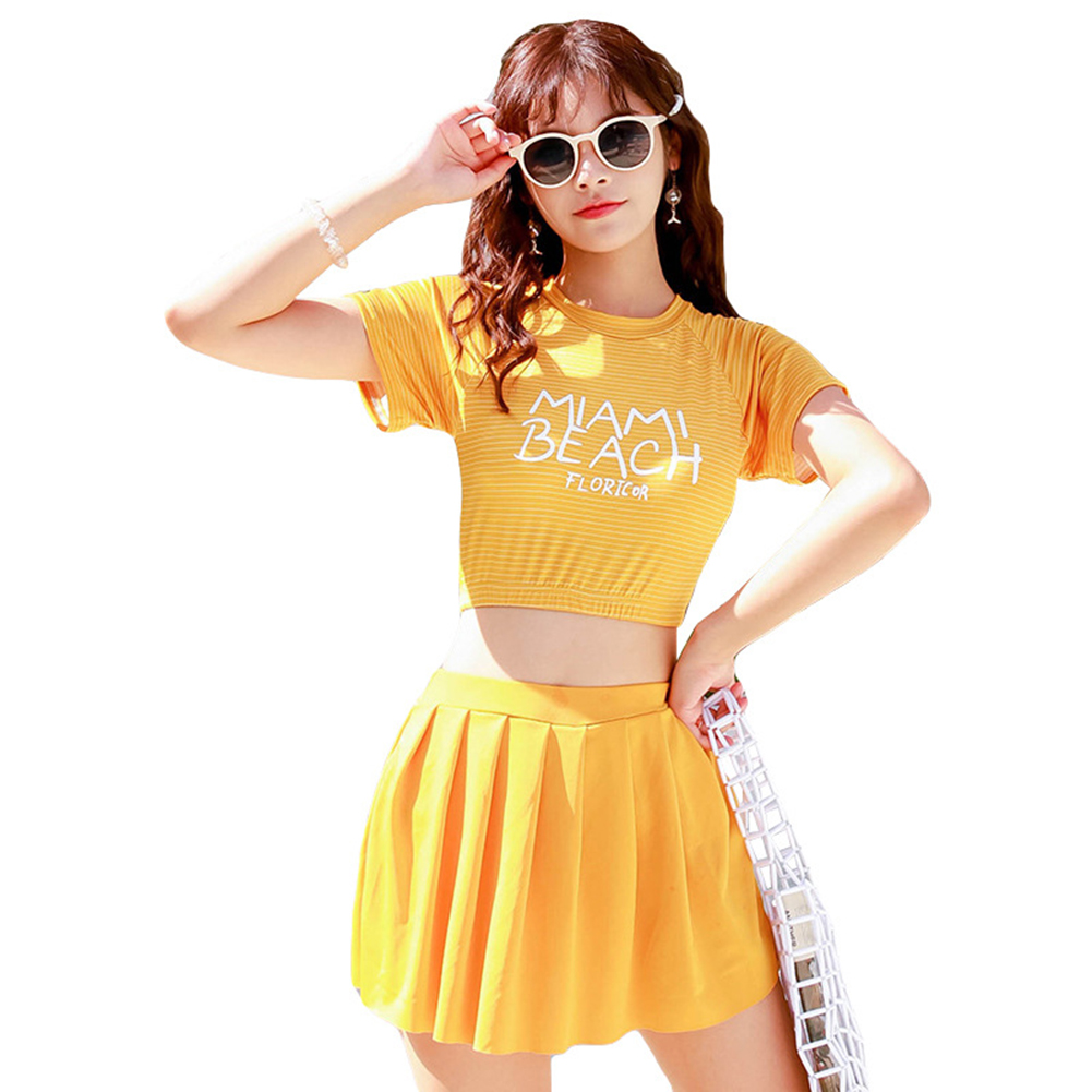2 Pcs/set Women  Split  Swimsuit Fashionable Boxer Anti-exposure Conservative Slim Swimwear Yellow_M