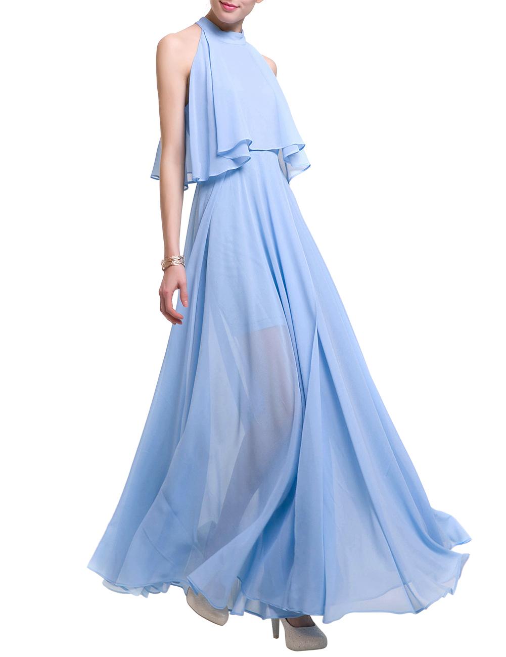 GlorySunshine Women Solid Sleeveless Halter Pleated Chiffon Slit Maxi Dress