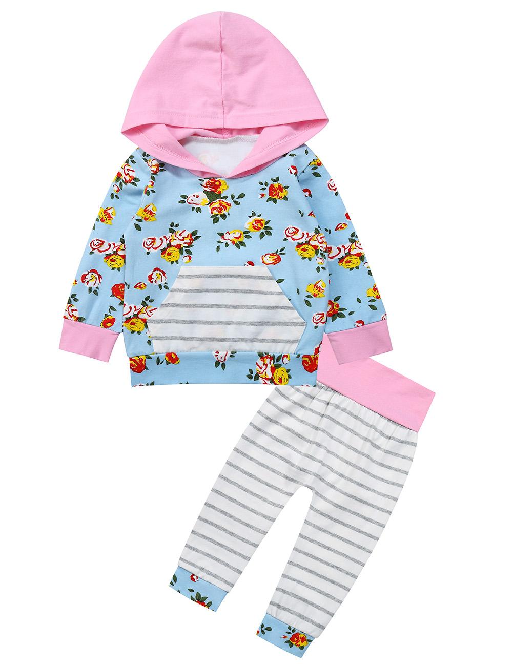 Kidlove Baby Girls' Flowers Hooded T-shirt Cotton Stripe Tops&Pants Pink