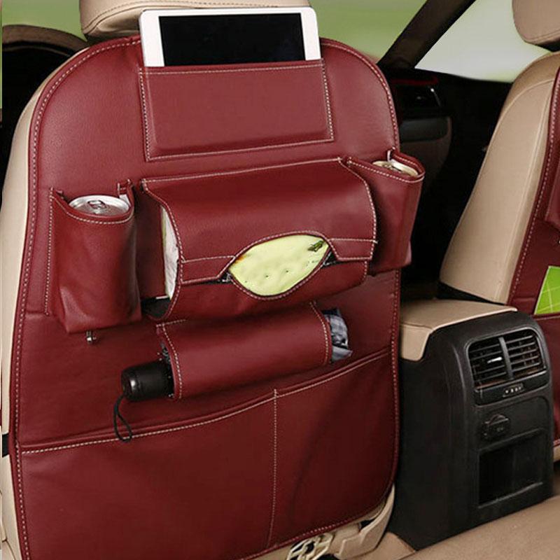 Car Back Seat Felt Multi Pocket Hanging Storage Bag Organiser Car Seat Back Bag Auto Travel Holder Car Accessories pu storage bag [wine red]_1 pc