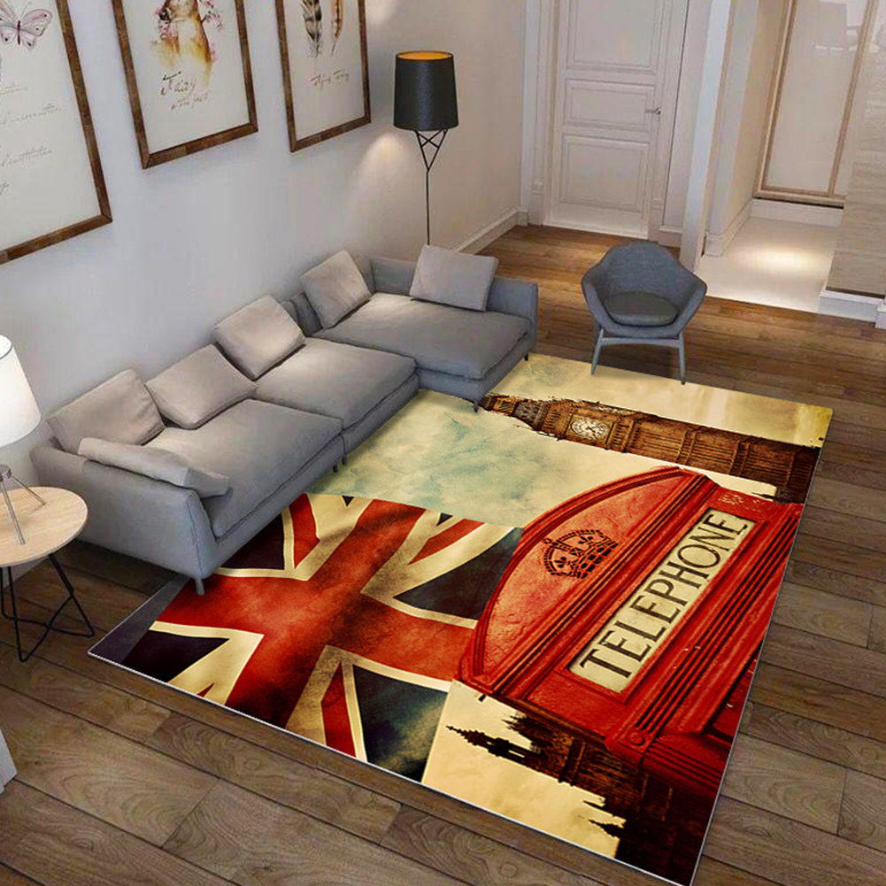 Modern National Flat Printing Carpet Mat for Living room Bedroom Bedside Rice flag landscape_80*120cm
