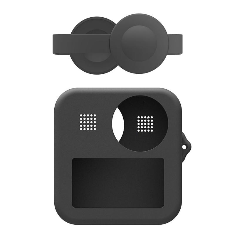 for GoPro Max Dual Lens Caps Body Silicone Anti-slip Anti-fall Waterproof Protective Case black