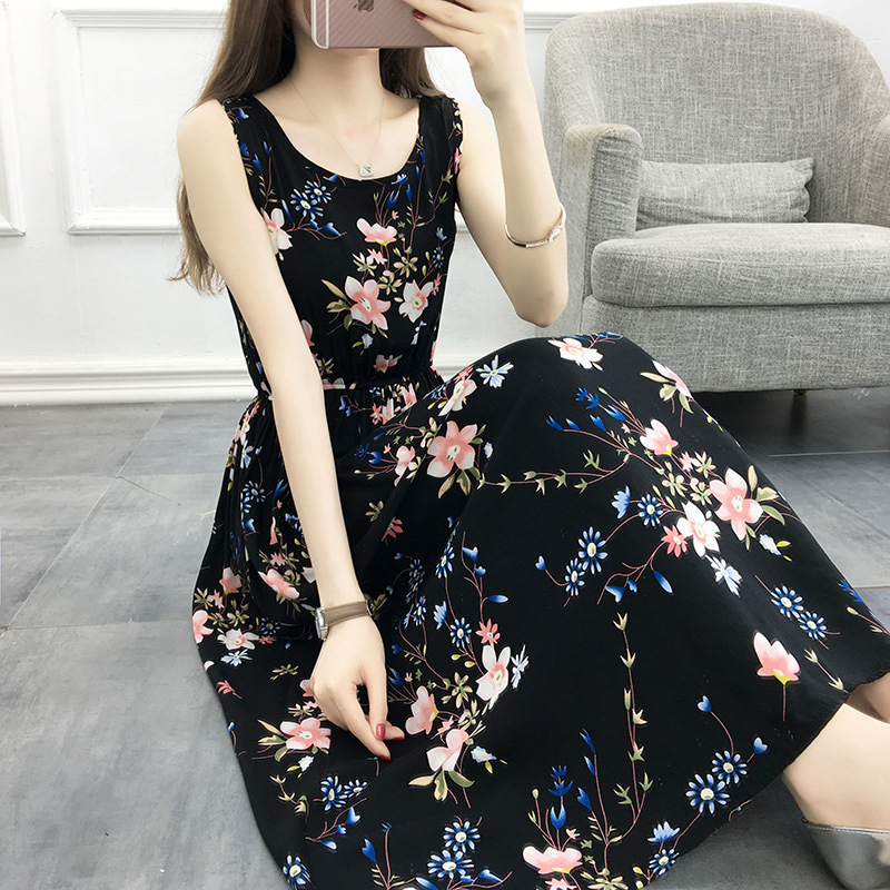 Women Summer Tight Waist Floral Printing Sleeveless Beach Dress  20# flower_M