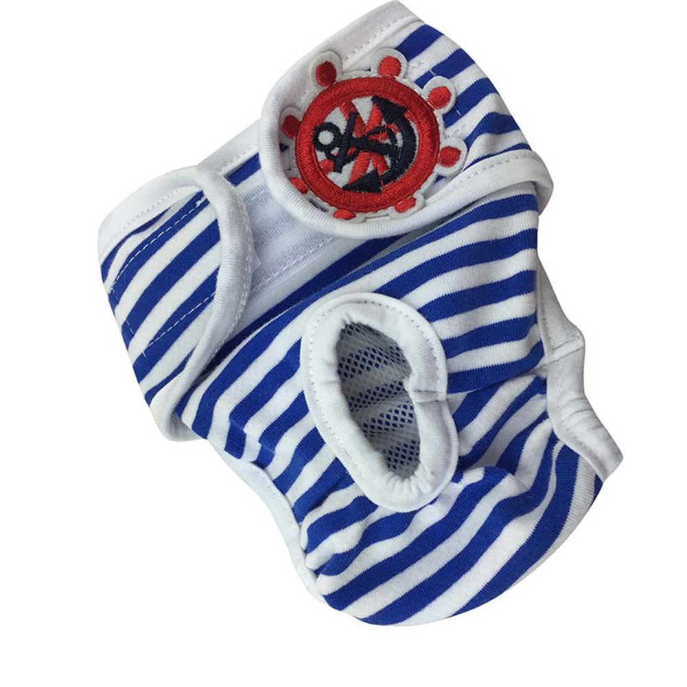 Cute Pet Dog Physiological Pants Sanitary Pants for Female Dog Underwear  Blue and white stripe_S