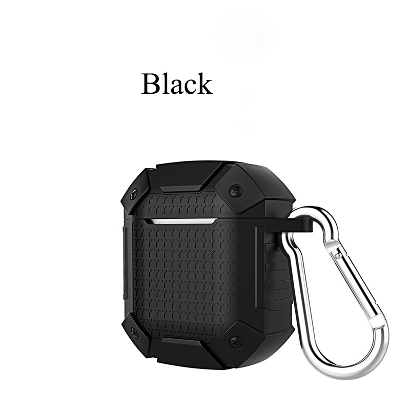 Shockproof Earphone Case for Airpods 1 2 Case Cover Soft TPU Full Protective Case Earphone Storage Travel Device black