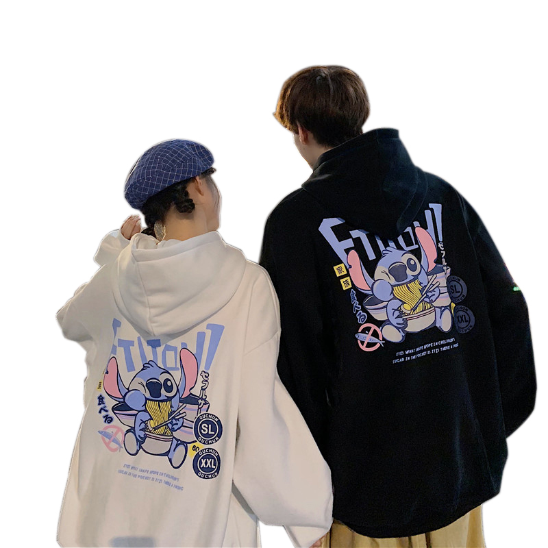 Men's and Women's Hoodie Spring and Autumn Thin Loose Cartoon Print Long-sleeve Hooded Sweater black_M