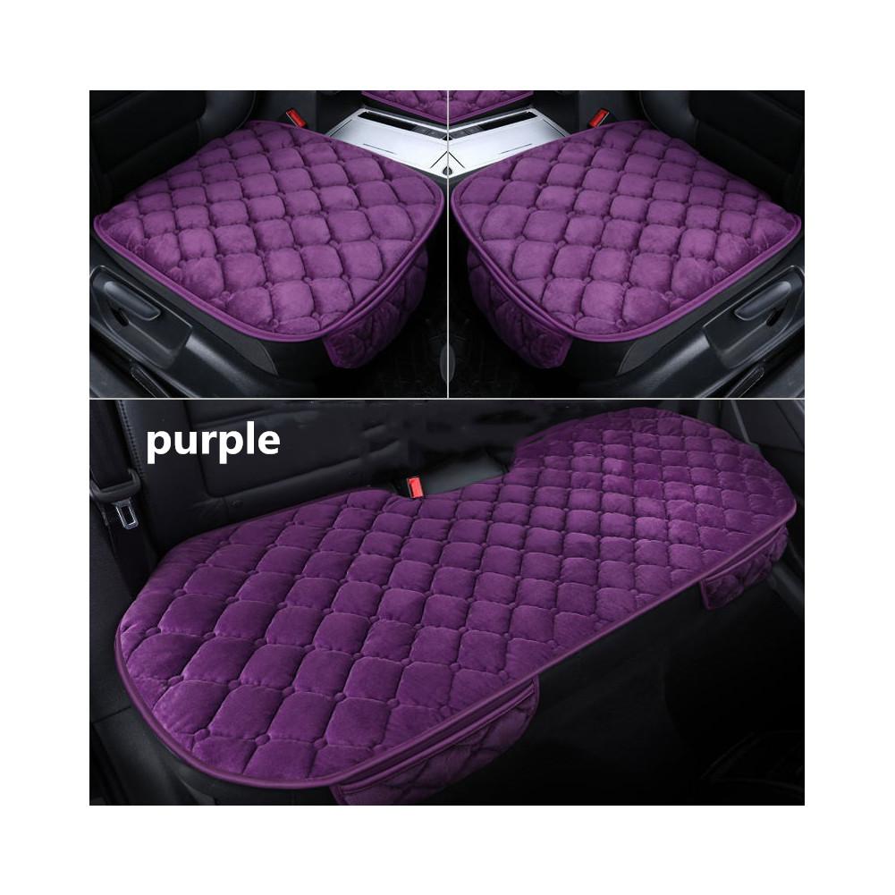 Universal 3pcs Car Seat Cushion Velvet Silk Seat Cover Set  Purple