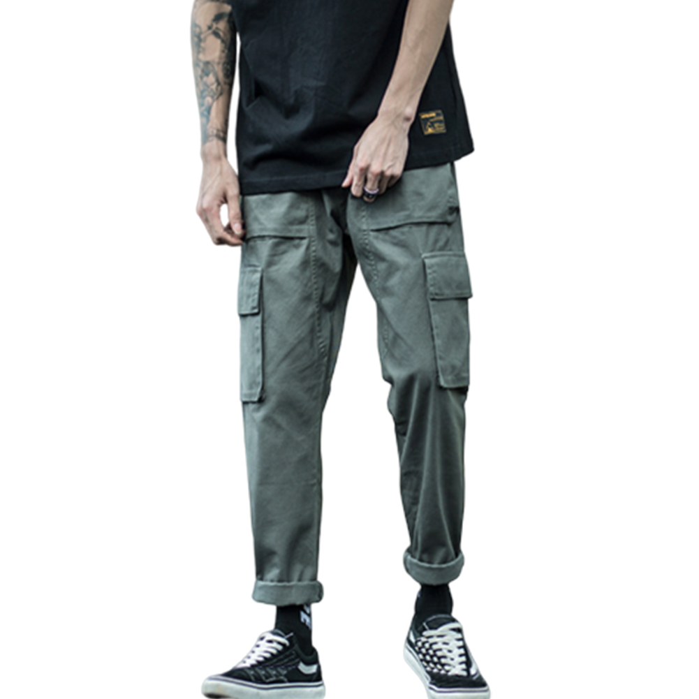 Men Multiple Pockets Cargo Pants Straight Bottom Solid Color Loose Casual Trousers  ArmyGreen_L