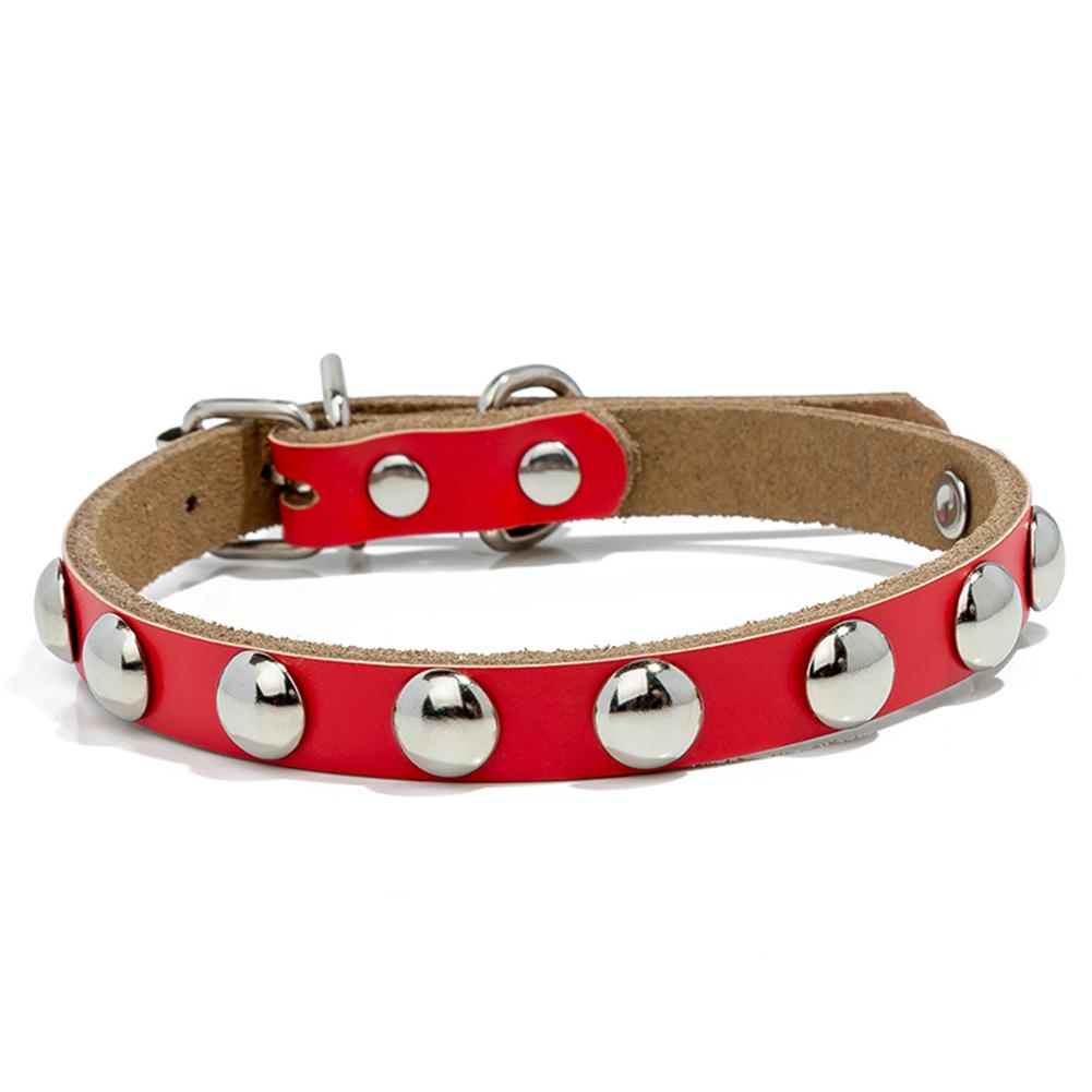 Studded Mushroom Rivet Leather Collar Adjustable Necklace for Dog Pet Puppy  red_M