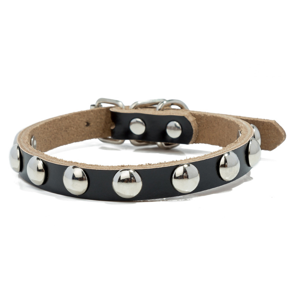 Studded Mushroom Rivet Leather Collar Adjustable Necklace for Dog Pet Puppy  black_M