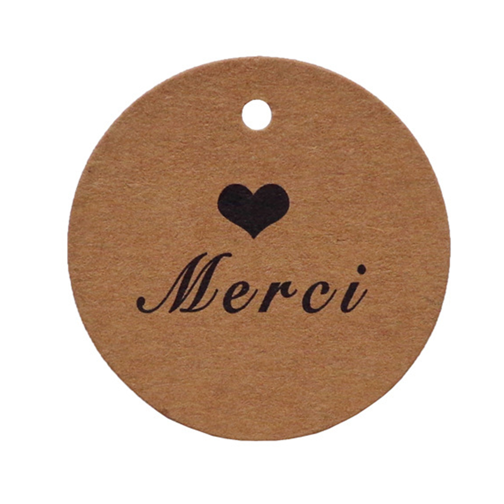 100Pcs Letter Printing Kraft Gift Hanging Tags for Wedding Party Decoration