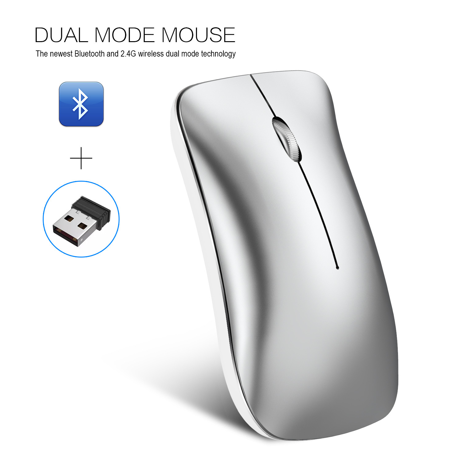 Wireless Bluetooth Mouse Rechargeable 2.4G USB Optical Vertical Ergonomic Dual Mode Mute Mouse Silver
