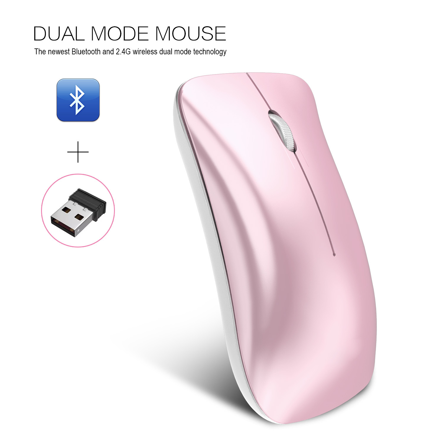 Wireless Bluetooth Mouse Rechargeable 2.4G USB Optical Vertical Ergonomic Dual Mode Mute Mouse Pink