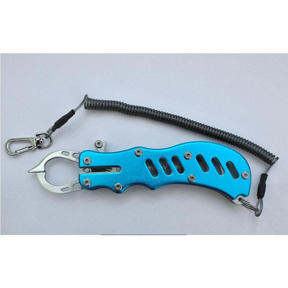 12CM Metal Fish Lip Grip Fishing Gripper Steel Spinning Plier Clip Catcher Holder 304 stainless steel fish control_Blue + wire missed rope + black hard box