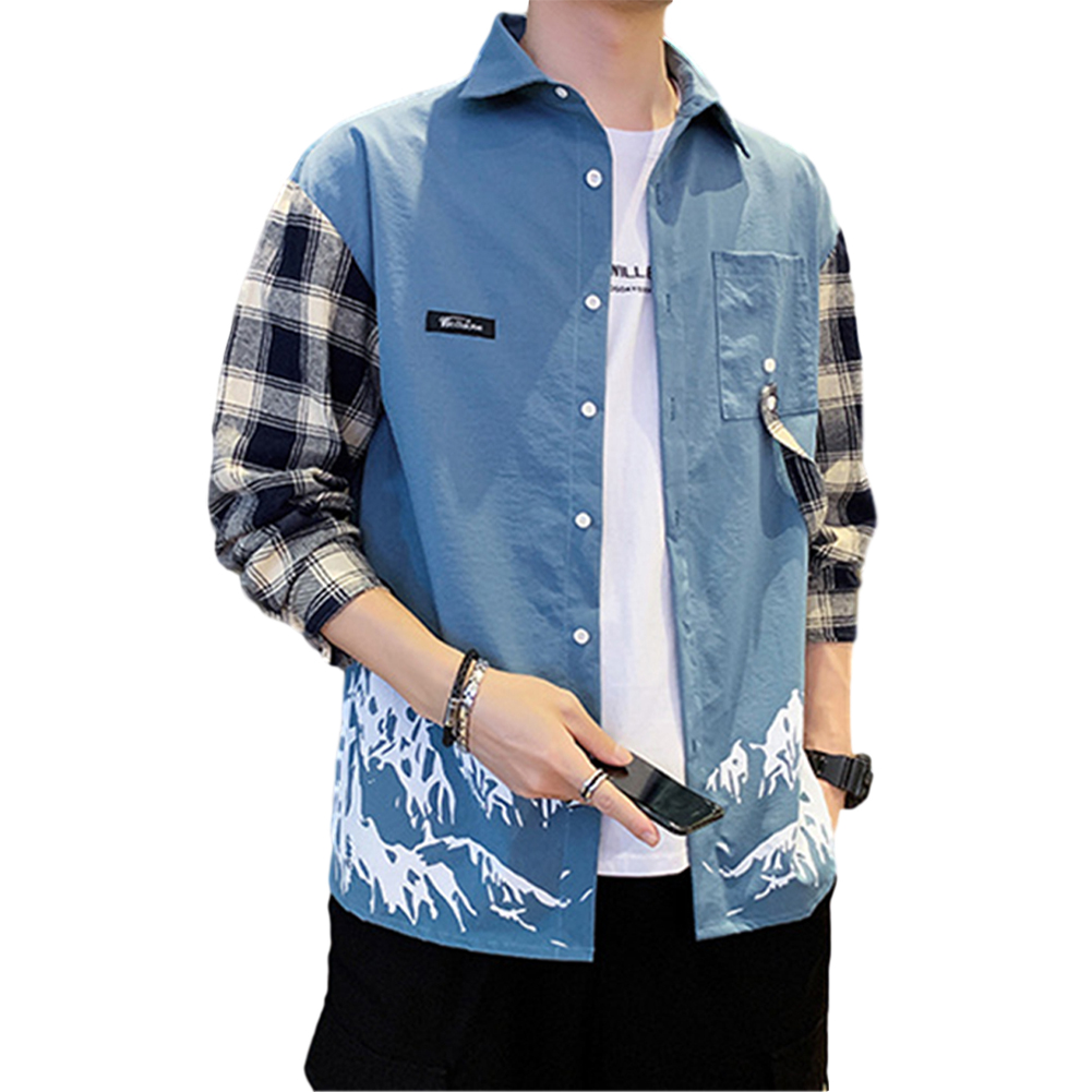 Men Plaid Printing Shirt Long Sleeve Autumn Teenagers Loose Blouse blue_M