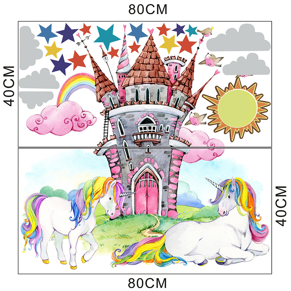 Large Wall Sticker with Single Horned Horse Pattern for Living Room Bedroom Kids Room Decor 40 * 80CMX2 tablets packed in bags