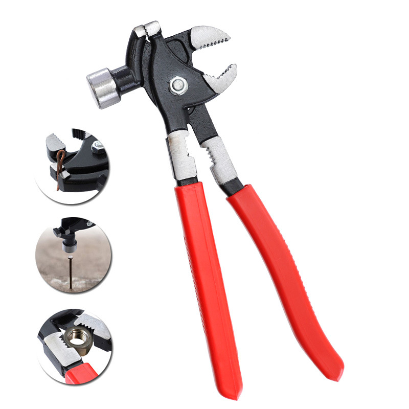 10in Claw Hammer CR-V Adjustable Hammer with Clamping Plier Hand Tool red