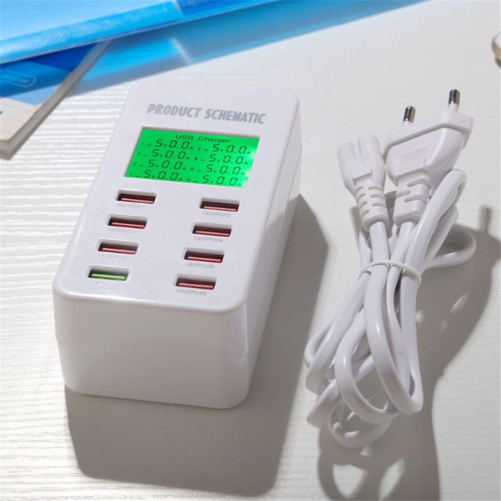 8 Port USB Quick Charger LCD Display Multi-Port USB Charging Station for Smartphone Tablets Power Supply  EU Plug