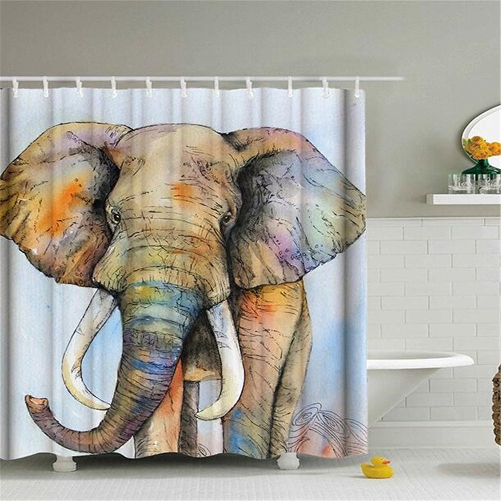 Elephant Theme Printing Shower  Curtain For Bathroom Bathtub Waterproof Curtain Big ear elephant_180*180cm