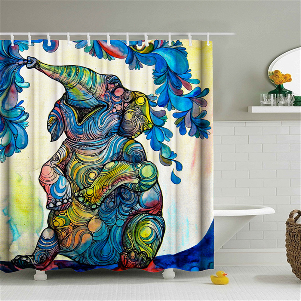 Elephant Theme Printing Shower  Curtain For Bathroom Bathtub Waterproof Curtain Spray painting elephant_180*180cm