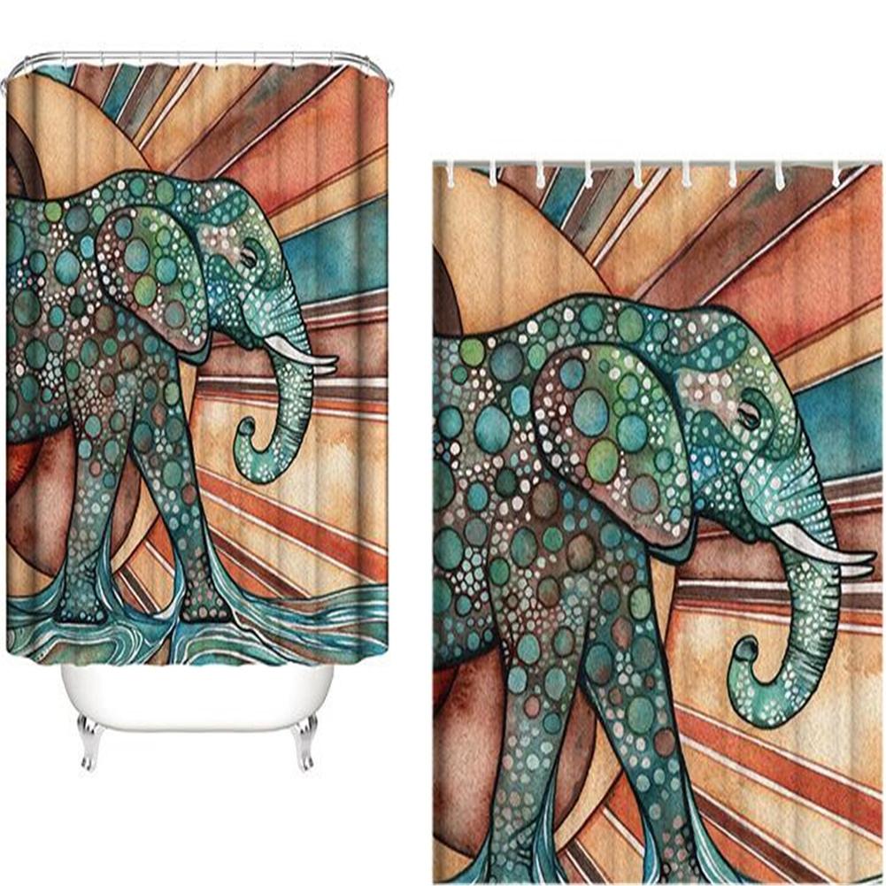 Elephant Theme Printing Shower  Curtain For Bathroom Bathtub Waterproof Curtain Dot Elephant_180*180cm