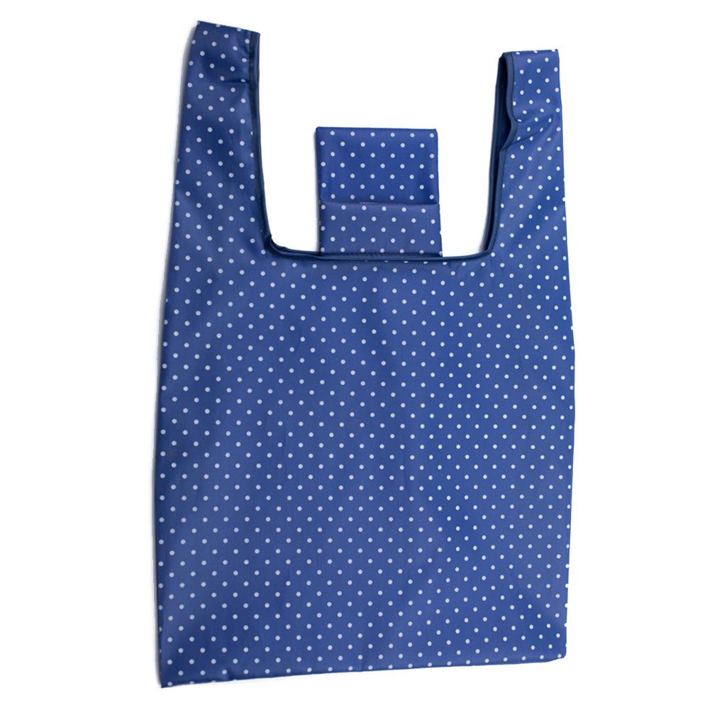Fashion Large Printing Foldable Shopping Bag Tote Folding Pouch Handbag Storage Bag Dark blue dots
