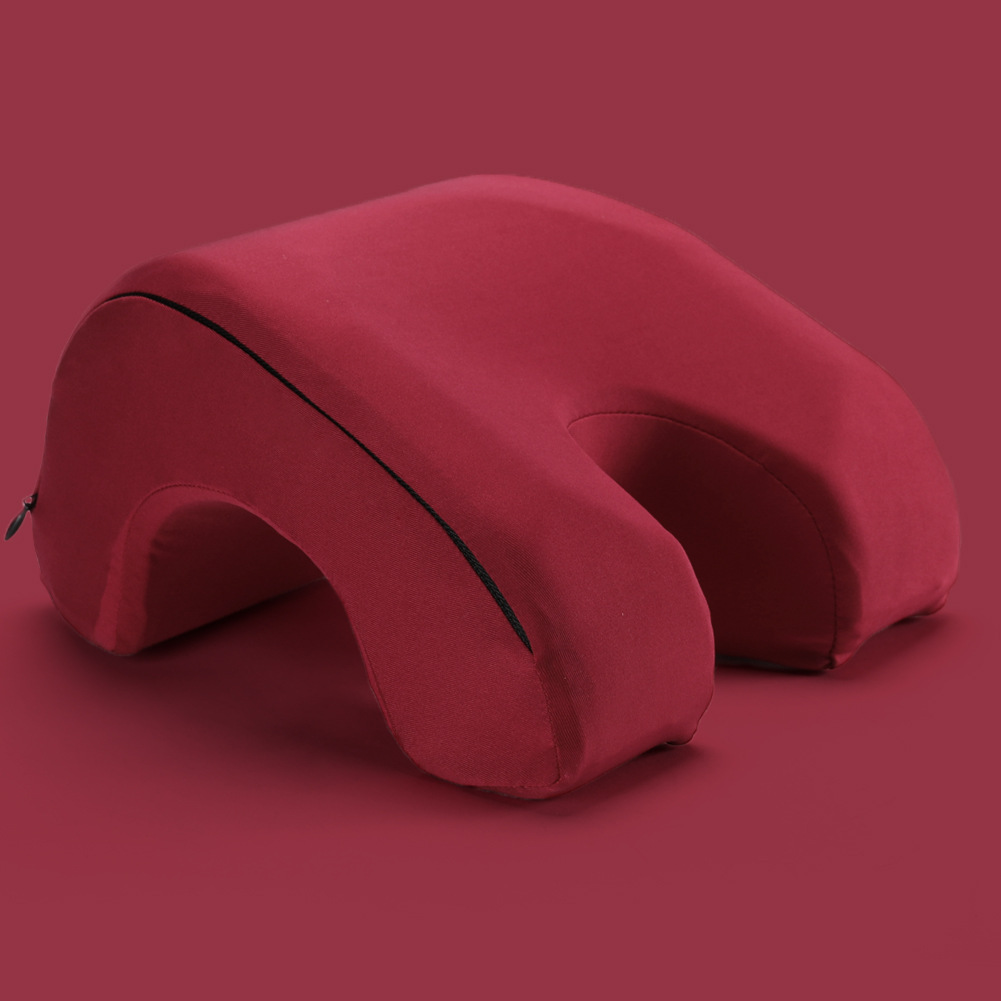 Memory Foam Nap Pillow Hollow Out Pillow for Office Sleeping Wine red_27.5 * 25 * 13cm
