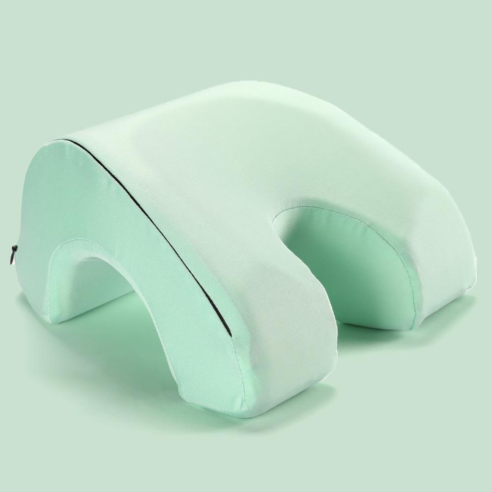 Memory Foam Nap Pillow Hollow Out Pillow for Office Sleeping Bean green_27.5 * 25 * 13cm