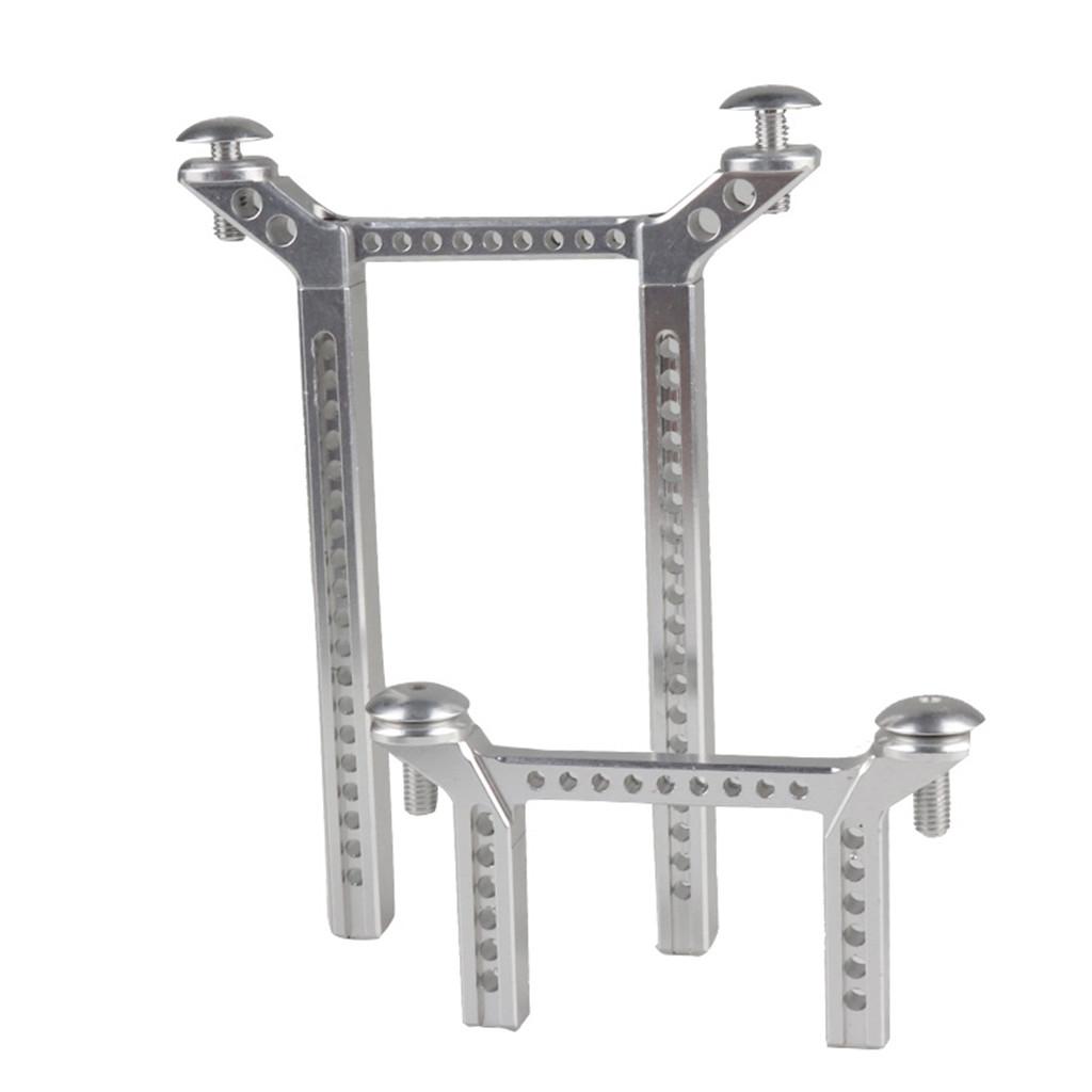 1 Set Front / Rear Car Pillars Alloy Metal Carbon Fiber Strengthen Car Shell Column for 1/10 Traxxas Trx4 Trx-4 Crawler Rc Car Silver