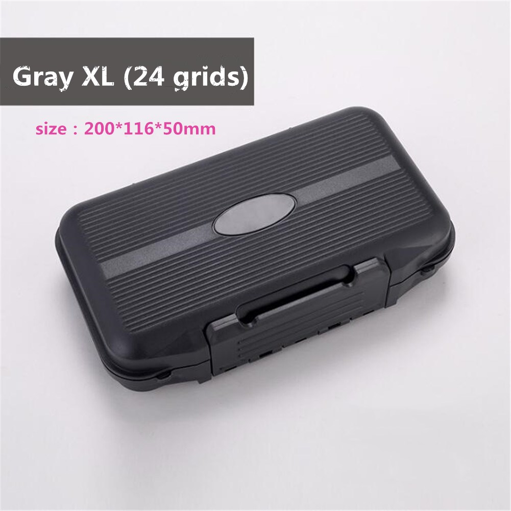 Portable Multi-functional Waterproof Fishing Accessories Box Storage Fish Box gray_Large size (24 grid)