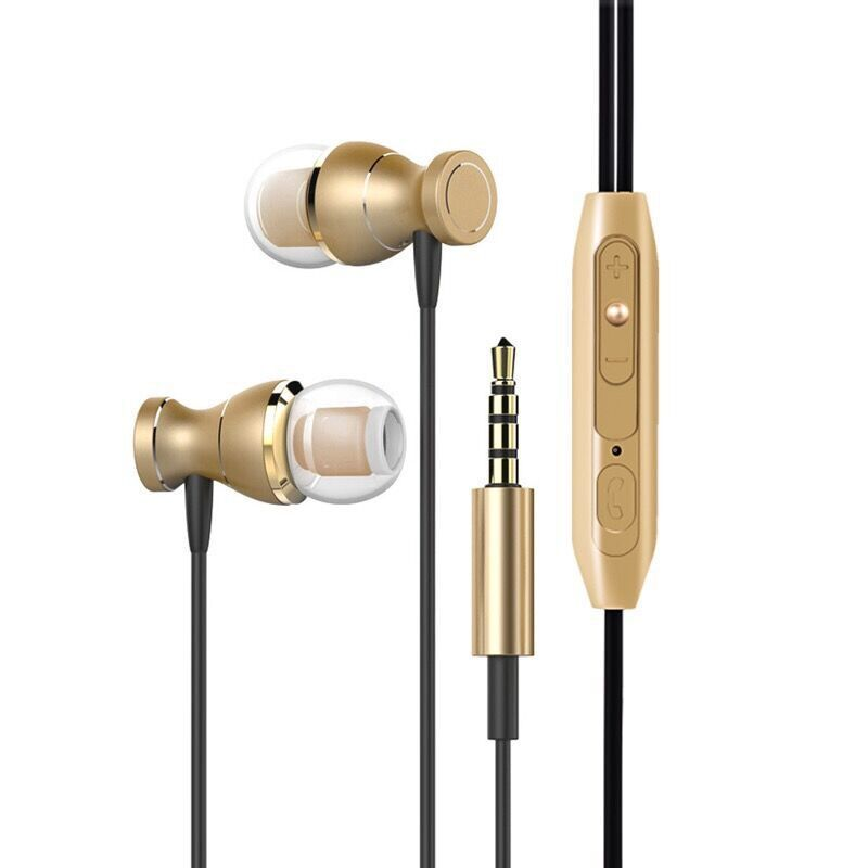 In-ear Headset Magnet Drive-by-wire Earphone with MIC MP3 Universal Headset Gold