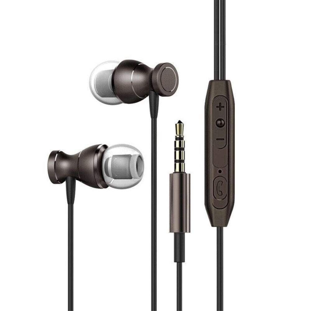 In-ear Headset Magnet Drive-by-wire Earphone with MIC MP3 Universal Headset black