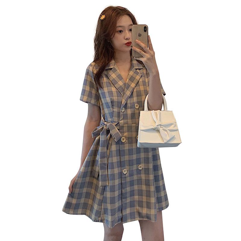 Women'S Short Sleeved Summer Waist Check Plaid Suit Collar Short Skirt Photo Color_One size