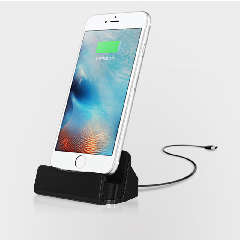 Desk Charger Charge and Sync Stand for IPhone 7 6s plus 6s 6 6plus 5s 5 Desktop Iphone Charger Black
