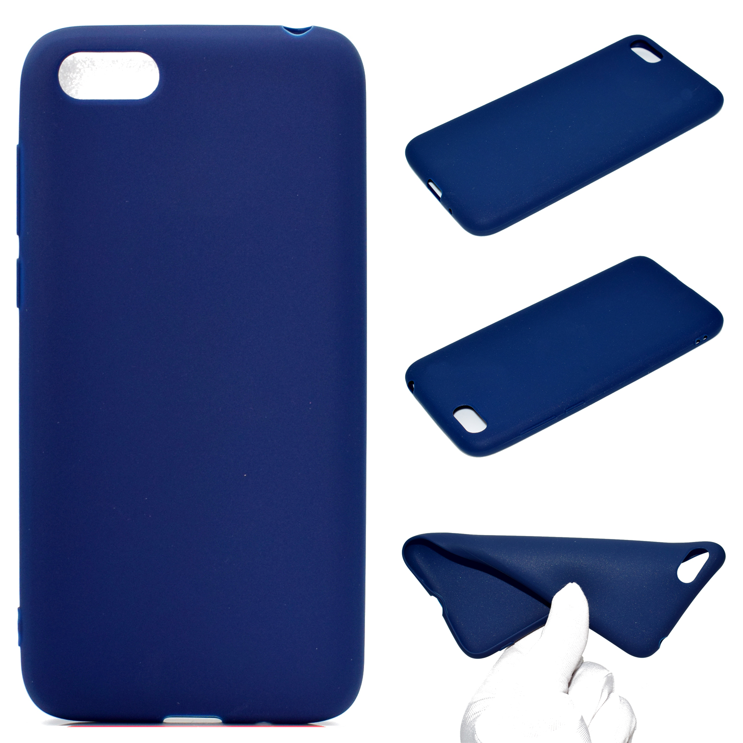 for HUAWEI Y5 2018 Cute Candy Color Matte TPU Anti-scratch Non-slip Protective Cover Back Case Navy