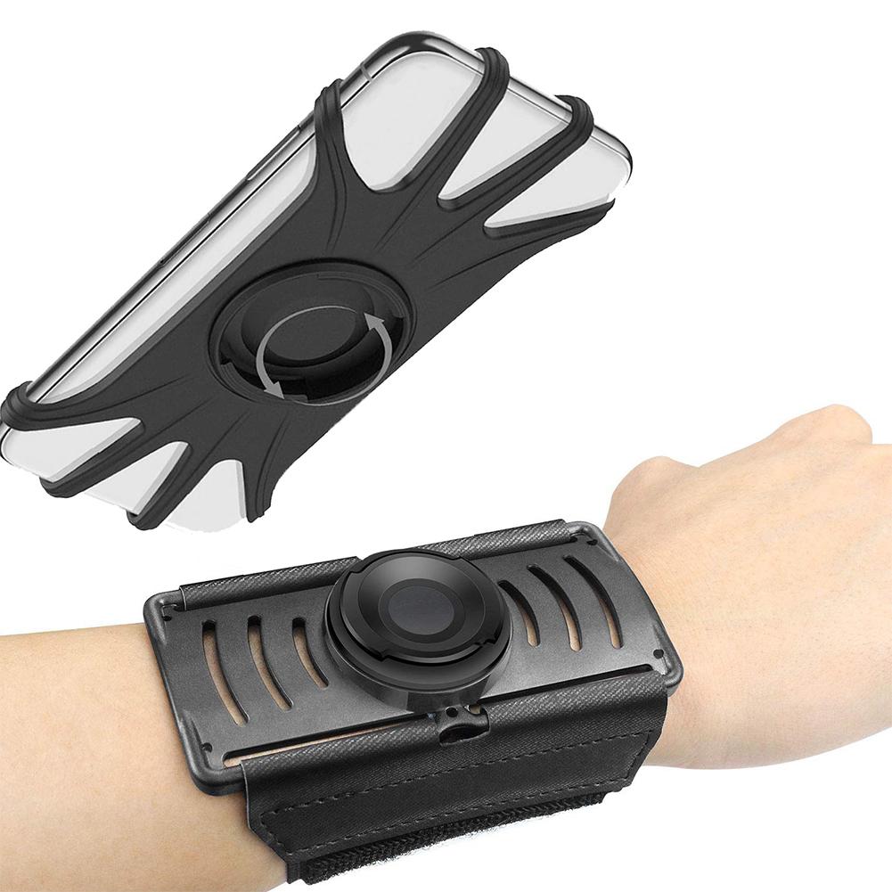 Rotatable Mobile Phone Holder for Running Mountaineering Wrist Bracket Black