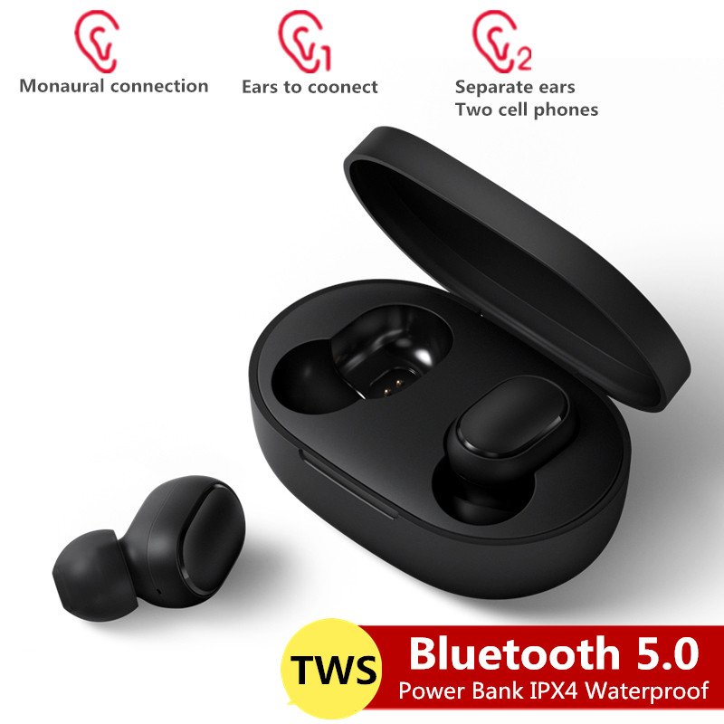 Bluetooth Headsets for Redmi Airdots Wireless Earbuds 5.0 TWS Earphones Noise Cancelling Mic for Xiaomi iPhone Huawei Samsung black