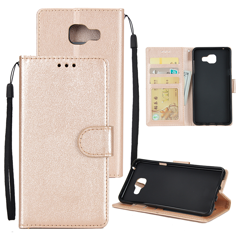 For Samsung On7-2016/J7 Prime Protective Cover PU Cell Phone Case with Card Slot Golden