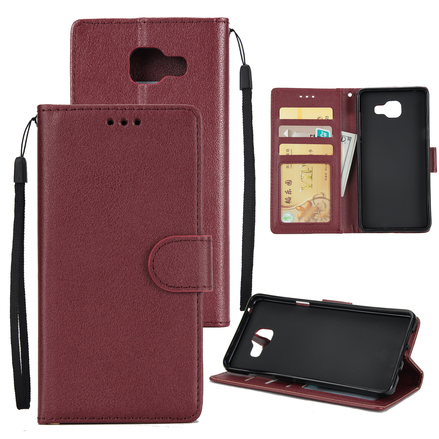 For Samsung On7-2016/J7 Prime Protective Cover PU Cell Phone Case with Card Slot  wine Red