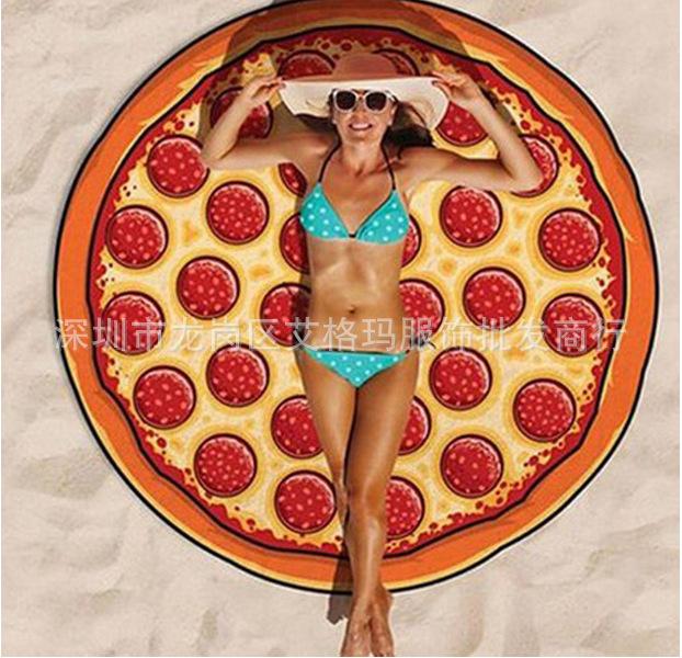 Round Shape Chiffon Beach Towel for Outdoor Camping Mat Pizza_Chiffon (80g)